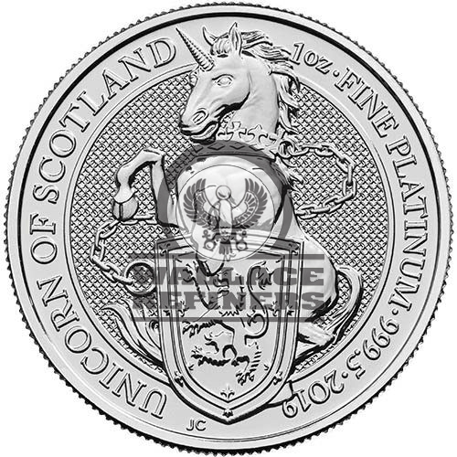 2019 1 oz British Platinum Queen's Beast Unicorn Coin (BU)