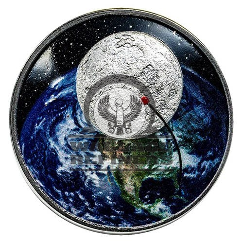 2019 1 oz Proof Jamul Moon Landing Curved Silver Coin (Box + CoA)