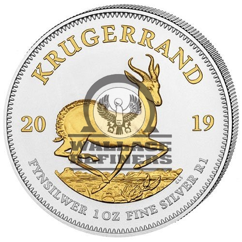 2019 1 oz South African Silver Krugerrand Coin (Gilded