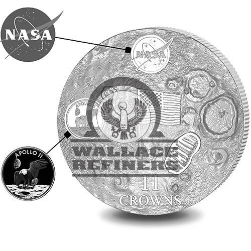 2019 11 oz First Man On The Moon Silver Coin (Ultra High Relief)