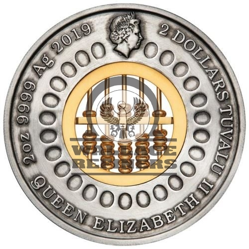 2019 Abacus 2oz .9999 Silver Antiqued $2 Coin NGC MS 70 ER