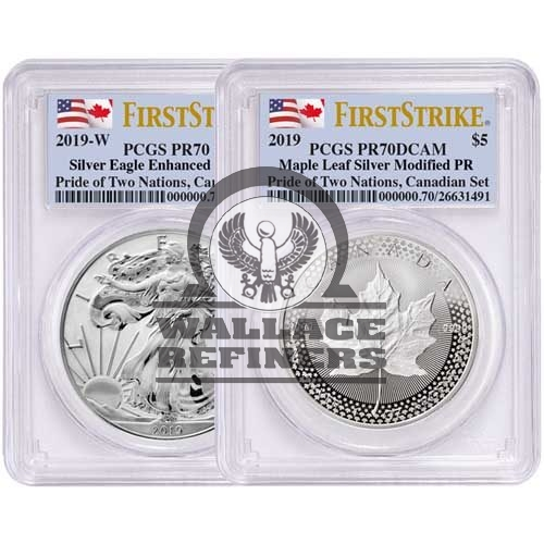 2019 RCM Pride of Two Nations Silver 2-Coin Set PCGS PR70 FS