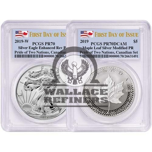 2019 RCM Pride of Two Nations Silver 2-Coin Set PCGS PR70 (First Day of Issue)