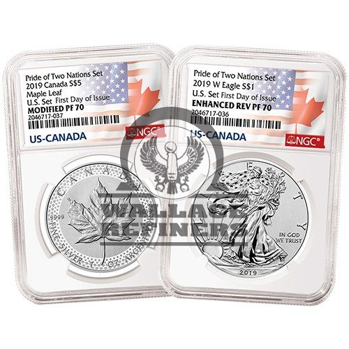 2019 US Mint Pride of Two Nations Silver 2-Coin Set NGC PF70 (First Day of Issue)