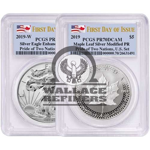 2019 US Mint Pride of Two Nations Silver 2-Coin Set PCGS PR70 (First Day of Issue)