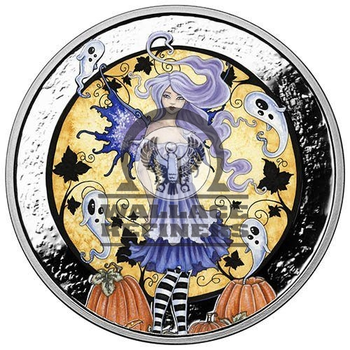 5 oz Colorized Amy Brown Collection Haunted Pumpkin Patch Silver Round (New w/ CoA)