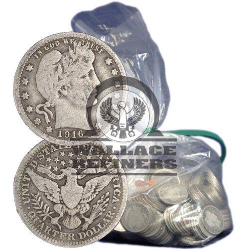 90% Silver Barber Quarters ($100 FV