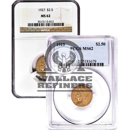 Pre-33 $2.5 Indian Gold Quarter Eagle Coin (MS62)