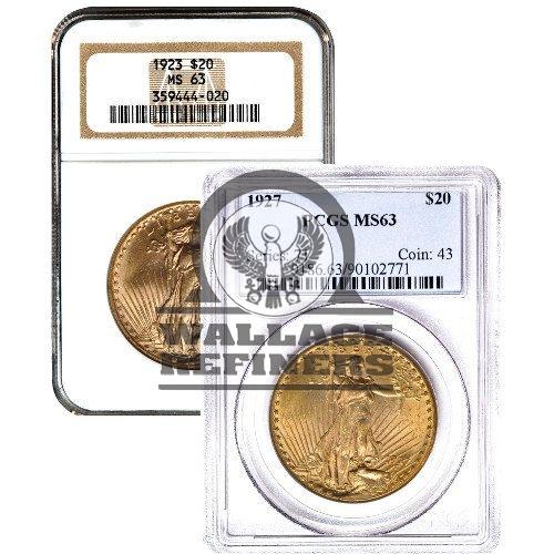 Pre-33 $20 Saint Gaudens Gold Double Eagle Coin (MS63