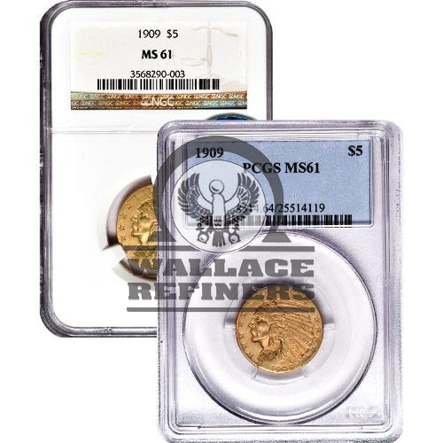 Pre-33 $5 Indian Gold Half Eagle Coin (MS61)